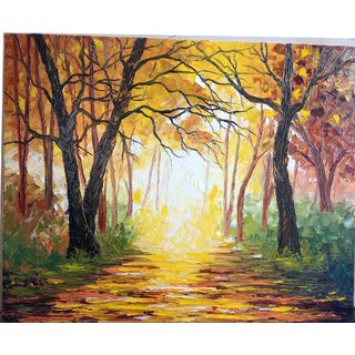Yellow forest......palette knife oil painting on canvas.
