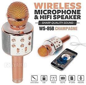 CP Bigbasket Wireless Bluetooth WS-858 Microphone Recording Condenser Handheld Microphone Stand W/ Speaker For Cellphone
