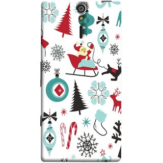 FUSON Designer Back Case Cover for Sony Xperia SL :: Sony Xperia S :: Sony Xperia SL LT26I LT26ii (Santaclaus New Year Igloo Snowflakes Candy Cane )