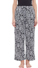 Miss Chase Black And White Animal Print Straight Fit Pyjama  For Women