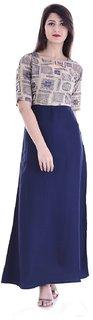 Alobha Rayon Half Sleeves Frock Style Printed Long  Kurtas  Kurtis for Women's