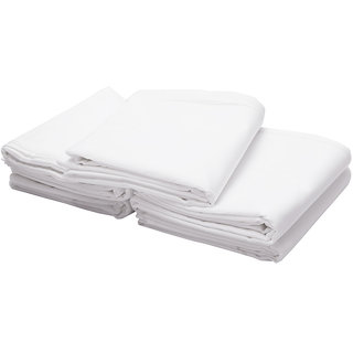 Just Hospitality Hotel Collection 300 TC 100% Cotton Sateen Economy Pack of 5 Solid White King Flat Sheets