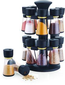 Ankur Revolving Spice Rack / Masala Rack, Black ABS Plastic Box 16-Jars