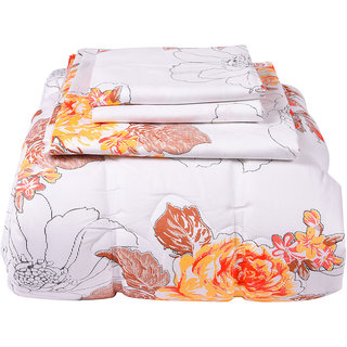 Just Linen 160 TC 100% Cotton Sheeting Floral Design, Multicolor, King Size 4 pc Bed in Bag Comforter Set