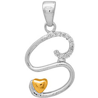 S Shaped Pendant Graced With CZ