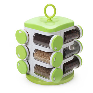 Ankur 12 Jars Rotating Spices/ Masala Rack Set, with 3 Different Halt, Transparent ABS Storage ,Green