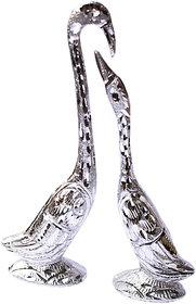 Zarsa Silver Love Bird Set of 2 Decorative Showpiece - 18 cm