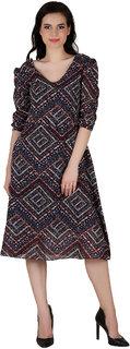 Fashion meee georgette multicolor chevron  printed v neck neck cap sleeve dress