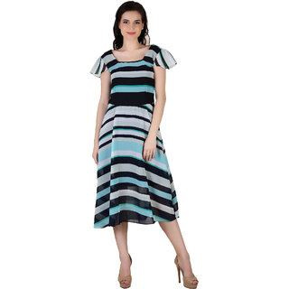 Fashion meee georgette multicolor black cyan striped printed boat neck cap sleeve dress