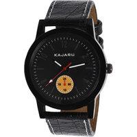 Kajaru KJR-2 Round Dial Black Leather Strap Quartz Watch For Men KJR_2_2