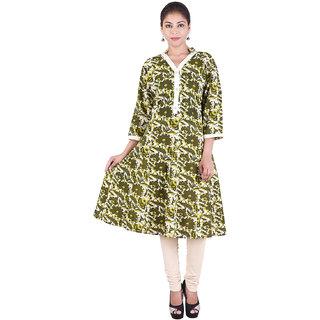 Mudrika Green Floral Rayon Stitched Kurti