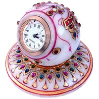 Gold Painted Handmade Round Marble Table Clock