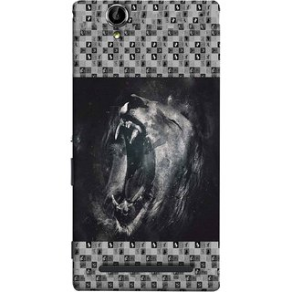 FUSON Designer Back Case Cover for Sony Xperia T2 Ultra :: Sony Xperia T2 Ultra Dual SIM D5322 :: Sony Xperia T2 Ultra XM50h (Grey Canvas Wallpaper Grey Background Leopards)