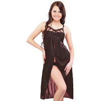 Klamotten Enchanting Black Satin Plain Night Gowns  Nighty