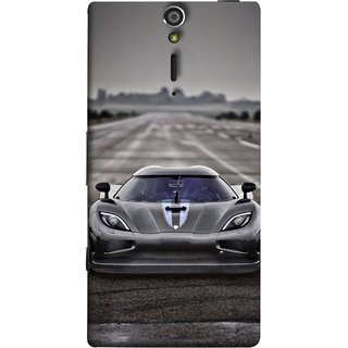 FUSON Designer Back Case Cover for Sony Xperia SL :: Sony Xperia S :: Sony Xperia SL LT26I LT26ii (Road Black White Clouds Beautiful Road Blue Side rror)