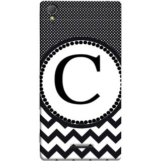 FUSON Designer Back Case Cover for Sony Xperia T3 (Alphabets Dots Black Shade Wave Patterns White)
