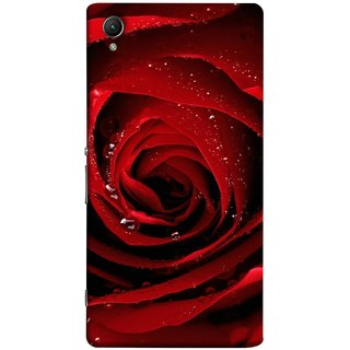 FUSON Designer Back Case Cover for Sony Xperia XA :: Sony Xperia XA Dual (Closeup Of Red Rose With Sprinkled With Water Droplets)