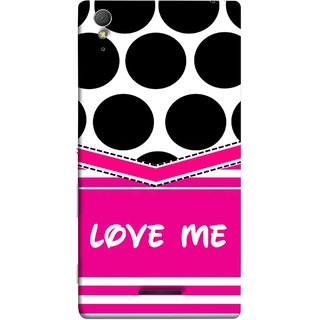 FUSON Designer Back Case Cover for Sony Xperia T3 (Pink Design Paper Big Black Circles Bubbles )