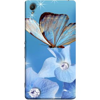 FUSON Designer Back Case Cover for Sony Xperia X :: Sony Xperia X Dual F5122 (In Center Glitter Diamonds Flowers Butterfly Nature)