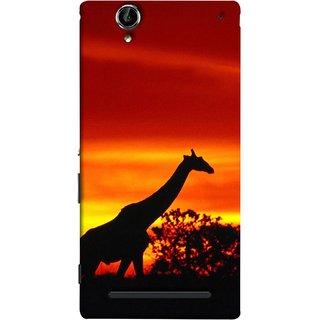 FUSON Designer Back Case Cover for Sony Xperia T2 Ultra :: Sony Xperia T2 Ultra Dual SIM D5322 :: Sony Xperia T2 Ultra XM50h (Africa Sunset Giraffe Evening Wildlife Animals )