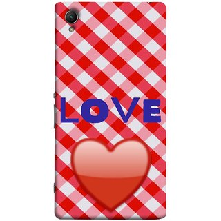 FUSON Designer Back Case Cover for Sony Xperia XA :: Sony Xperia XA Dual (Red Shiny Heart Against Red And White Checkered)