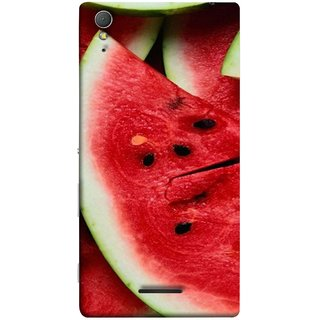 FUSON Designer Back Case Cover for Sony Xperia T3 (Watermelon Slice Pattern Of Ripe Dark Red Tasty Food)