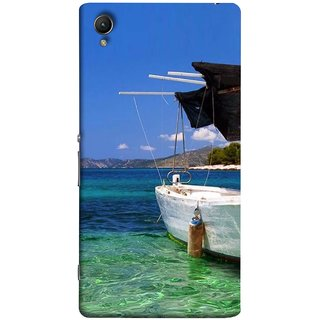 FUSON Designer Back Case Cover for Sony Xperia XA :: Sony Xperia XA Dual (Boat Floating In The Clear Water Island Enjoy Holidays)