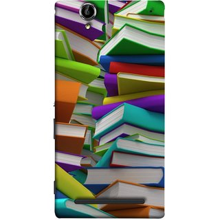 FUSON Designer Back Case Cover for Sony Xperia T2 Ultra :: Sony Xperia T2 Ultra Dual SIM D5322 :: Sony Xperia T2 Ultra XM50h (Stack Of Colorful Books White Pages School)
