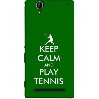 FUSON Designer Back Case Cover for Sony Xperia T2 Ultra :: Sony Xperia T2 Ultra Dual SIM D5322 :: Sony Xperia T2 Ultra XM50h (Tennis Player Logo Keep Silent And Cool Game On)