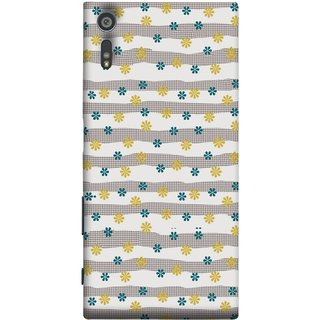 FUSON Designer Back Case Cover for Sony Xperia XR (Grey Yellow Small Checks Background Fresh Flowers)