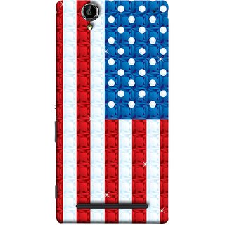 FUSON Designer Back Case Cover for Sony Xperia T2 Ultra :: Sony Xperia T2 Ultra Dual SIM D5322 :: Sony Xperia T2 Ultra XM50h (United Stated Of America Flag Embroidered Stars)