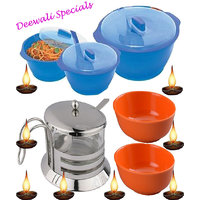 Microwave Casserole Set (Soup/Sugar/Pickle/Salt Bowl) - Set Of 14 Pcs.