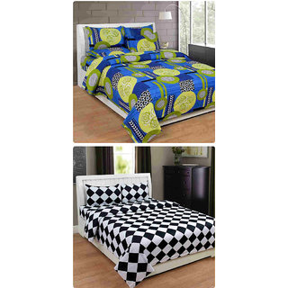 Furnishing Zone New 100% Cotton 90x90 Inches 2 Double Bedsheet With 4 Pillow Covers_FZAHCottonDBCOMB245