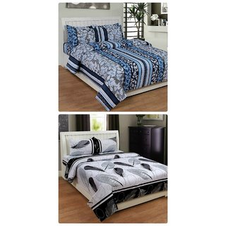 Furnishing Zone New 100% Cotton 90x90 Inches 2 Double Bedsheet With 4 Pillow Covers_FZAHCottonDBCOMB333