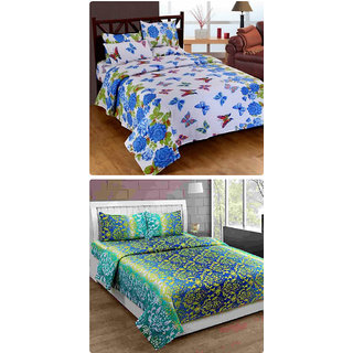 Furnishing Zone New 100% Cotton 90x90 Inches 2 Double Bedsheet With 4 Pillow Covers_FZAHCottonDBCOMB413