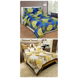 Furnishing Zone New 100% Cotton 90x90 Inches 2 Double Bedsheet With 4 Pillow Covers_FZAHCottonDBCOMB249