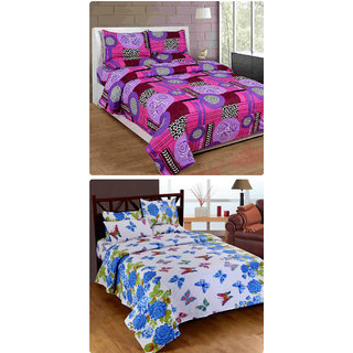 Furnishing Zone New 100% Cotton 90x90 Inches 2 Double Bedsheet With 4 Pillow Covers_FZAHCottonDBCOMB162