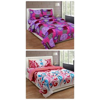Furnishing Zone New 100% Cotton 90x90 Inches 2 Double Bedsheet With 4 Pillow Covers_FZAHCottonDBCOMB164