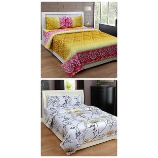 Furnishing Zone New 100% Cotton 90x90 Inches 2 Double Bedsheet With 4 Pillow Covers_FZAHCottonDBCOMB469
