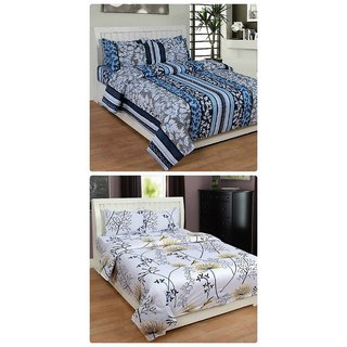 Furnishing Zone New 100% Cotton 90x90 Inches 2 Double Bedsheet With 4 Pillow Covers_FZAHCottonDBCOMB334