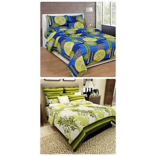Furnishing Zone New 100% Cotton 90x90 Inches 2 Double Bedsheet With 4 Pillow Covers_FZAHCottonDBCOMB250