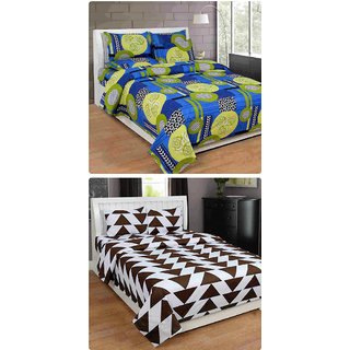 Furnishing Zone New 100% Cotton 90x90 Inches 2 Double Bedsheet With 4 Pillow Covers_FZAHCottonDBCOMB252