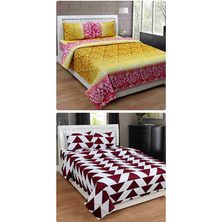 Furnishing Zone New 100% Cotton 90x90 Inches 2 Double Bedsheet With 4 Pillow Covers_FZAHCottonDBCOMB472