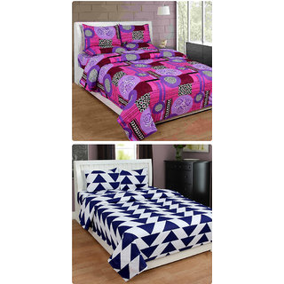 Furnishing Zone New 100% Cotton 90x90 Inches 2 Double Bedsheet With 4 Pillow Covers_FZAHCottonDBCOMB168