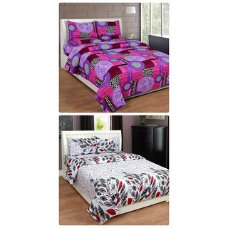 Furnishing Zone New 100% Cotton 90x90 Inches 2 Double Bedsheet With 4 Pillow Covers_FZAHCottonDBCOMB169
