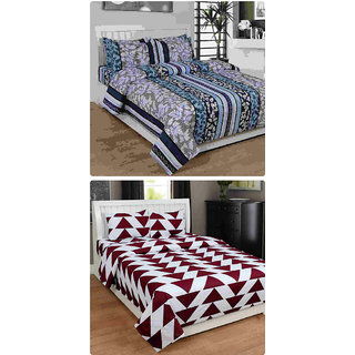Furnishing Zone New 100% Cotton 90x90 Inches 2 Double Bedsheet With 4 Pillow Covers_FZAHCottonDBCOMB337