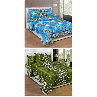 Furnishing Zone New 100% Cotton 90x90 Inches 2 Double Bedsheet With 4 Pillow Covers_FZAHCottonDBCOMB182
