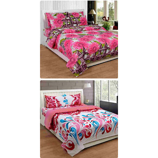 Furnishing Zone New 100% Cotton 90x90 Inches 2 Double Bedsheet With 4 Pillow Covers_FZAHCottonDBCOMB344