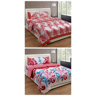 Furnishing Zone New 100% Cotton 90x90 Inches 2 Double Bedsheet With 4 Pillow Covers_FZAHCottonDBCOMB424
