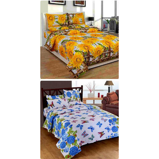 Furnishing Zone New 100% Cotton 90x90 Inches 2 Double Bedsheet With 4 Pillow Covers_FZAHCottonDBCOMB260